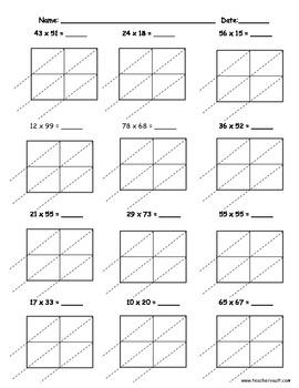 lattice multiplication 2 digit by 2 digit 10 pages by teacher vault. Black Bedroom Furniture Sets. Home Design Ideas