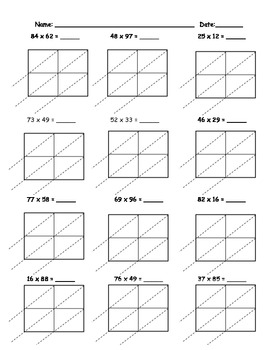 Lattice Multiplication 2 Digit by 2 Digit - 10 Pages by Teacher Vault