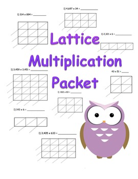 Lattice Multiplication Packet (90 pages) 2x1 3x1 4x1 2x2 3x2 4x2 3x3 4x3 4x4