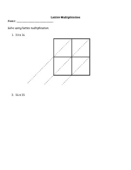 Lattice Multiplication Practice *EDITABLE