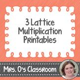 3 Lattice Multiplication Worksheets/Printables with Keys