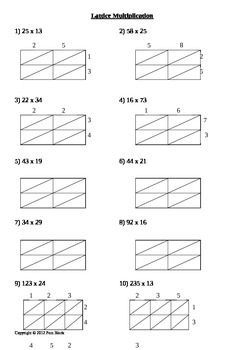 Lattice Multiplication Worksheets Teaching Resources | Teachers Pay ...