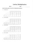 Lattice Multiplication Worksheet - 5 X 3 Digits