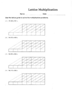 Lattice Multiplication Worksheet - 5 X 3 Digits by Robert's Resources