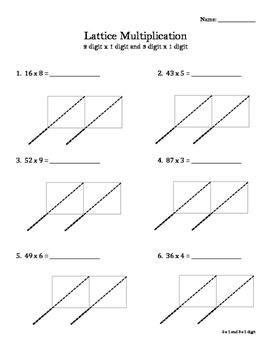 Lattice Multiplication Worksheet or Math Notebook Entry