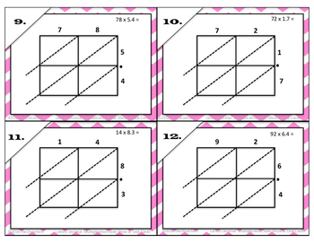 Lattice Multiplication with Decimals PowerPoint and Task Cards