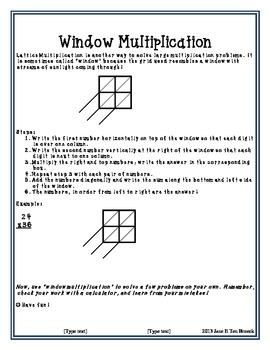 Lattice/Window Multiplication Math Center Homework Practice