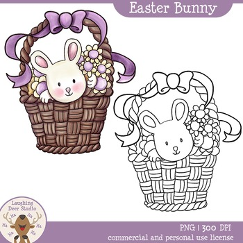 Easter Bunny Clipart. Full Color and Line art.