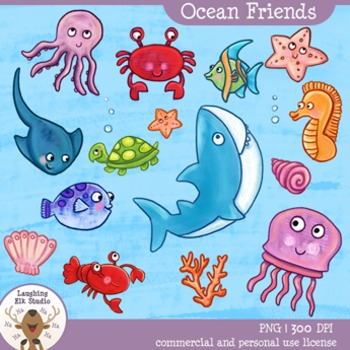 Laughing Deer Studio- Ocean Friends, 35 piece hand painted sealife clipart set