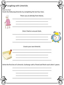 Laughing With Limericks - Handout & Practice Worksheet