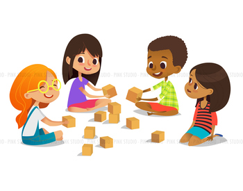 Laughing and smiling kids sit on floor in circle - Illustrated Clipart Graphic