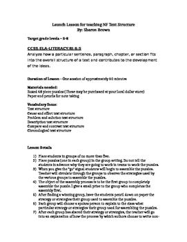 Launch Lesson For Non-Fiction Text Structure
