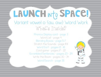 Launch into Space {Variant Vowel o ~ au, aw} Word Work