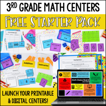 Launching Guided Math Centers: 3rd Grade Math Centers Starter Pack