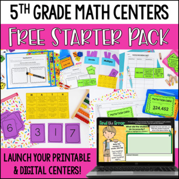 Launching Guided Math Centers: 5th Grade Math Centers Starter Pack