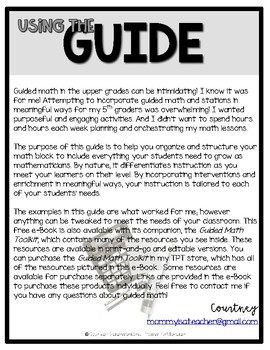 Launching Guided Math in the Intermediate Classroom FREE e-Book