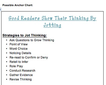 Jotting Your Thinking- A Launching Mini Unit