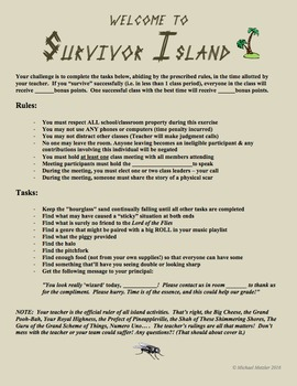 LORD OF THE FLIES Launch - Welcome to Survivor Island Full-Class Activity