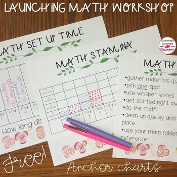 Launching Math Workshop Free Anchor Charts