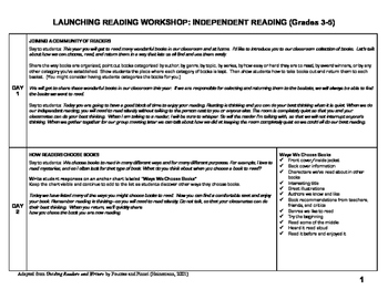 Launching Reading Workshop: First 20 Days Grades 3-5