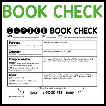 FREEBIE: I-PICK Good Fit Books: Bookmark and Book Check