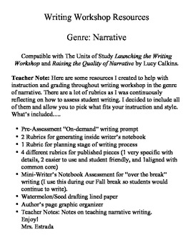 Launching Writing Workshop Narrative Rubrics and Resources