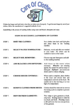 Laundering & Care Of Clothes Lesson
