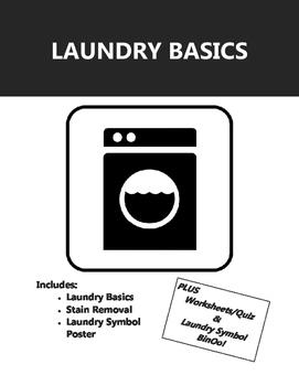 Laundry Basics - Handouts & Care Symbols Poster PLUS Worksheet & Laundry BINGO
