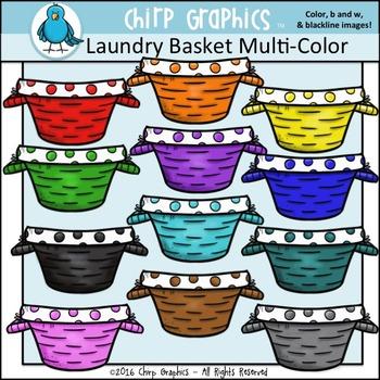 Laundry Basket Multi-Color Clip Art Set - Chirp Graphics