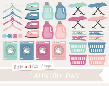 Laundry Clipart; Cleaning, Soap, Basket, Hanger, Washing Machine, Iron