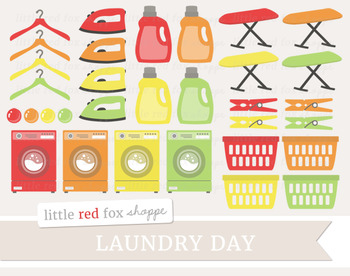 Laundry Clipart; Cleaning, Soap, Basket, Hanger, Washing Machine, Iron