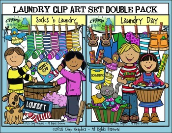 Laundry Day Clip Art Double Pack - Chirp Graphics