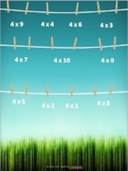 Laundry Multiplication x4 File Folder Game