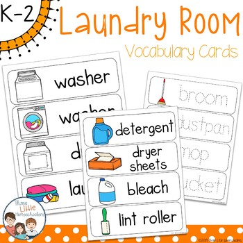 Laundry Room Vocabulary Word Wall Cards plus Write & Wipe Version