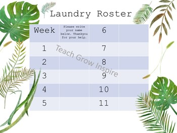 Laundry Roster with tropical water colour leaves