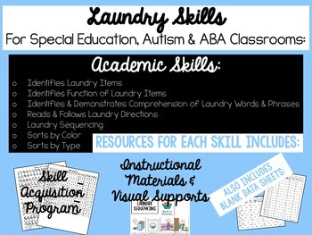 Laundry Skills for Autism, ABA or Special Education Classroom