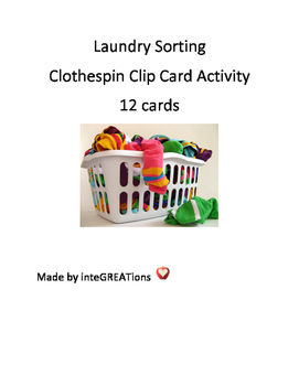 Laundry sort - Clothespin Clip Card Activity
