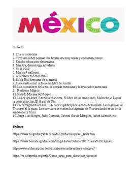 Laura Esquivel (author of Como agua para chocolate)  Webquest in Spanish