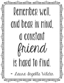 Laura Ingalls Wilder Friendship Quote Poster, Library Art