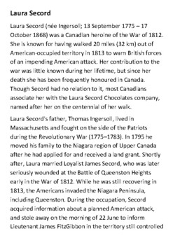 Laura Secord Handout