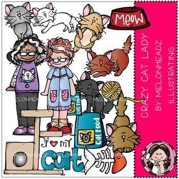Laura's Crazy Cat lady clip art - COMBO PACK- by Melonheadz