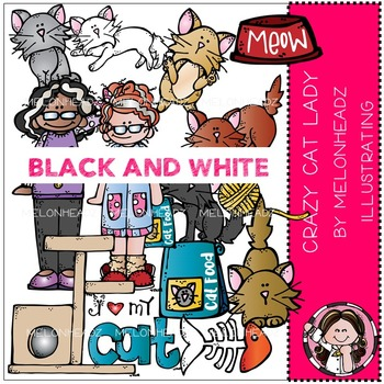 Laura's Crazy Cat lady clip art - BLACK AND WHITE- by Melonheadz