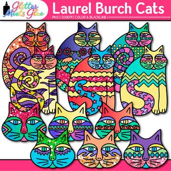 Laurel Burch Cat Clip Art   Fantastic Felines Folk Art for Art History Resources