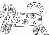 Laurel Burch Inspired Magical Cat Coloring Page & Worksheet