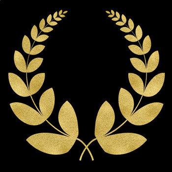 Laurel Wreath Clipart, Gold Foil Laurels