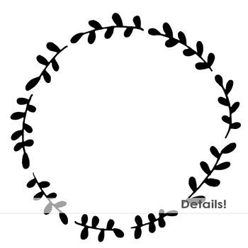 Laurel Wreath Frames, Circle Borders, Digital Frame Clip Art, Decorative Stamps