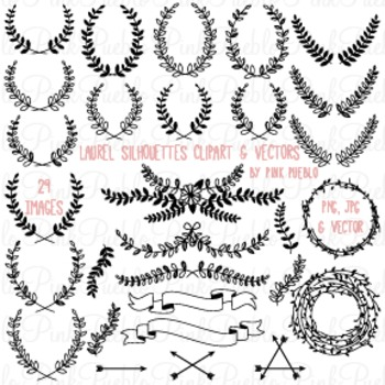 Laurel and Wreath Clipart Clip Art - Commercial and Personal Use