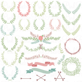 Laurels, Wreaths and Banners Clipart