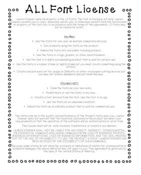 Lauren Downer Fonts- ALL Font License