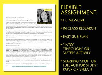 Laurie Halse Anderson Author Study Worksheet, Easy Biography Activity, CCSS